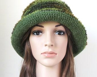 Boho Brim Hat, Soft Wool Hat, Moss Green Floppy Bucket Hat, Forest Green, Unique Handmade Bohemian Clothing