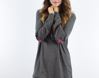 Cowl Neck Tunic with Plaid Elbow Patches