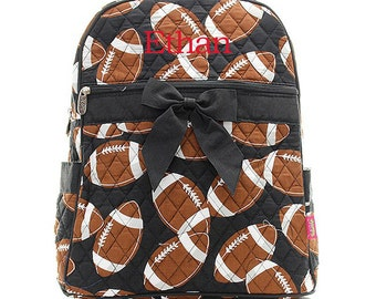 Personalized Football Sports Balls Print Quilted Backpack with Bow * Custom Embroidered Book Bag with Monogram or Name * Gift