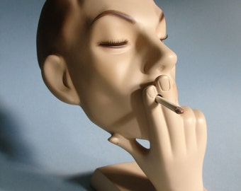 Vintage Male Mannequin Head - Smoking!