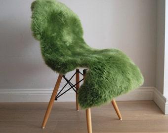 Grass Greeen Sheepskin Rug Throw Rare Colour! Stunning Superior Australian Sheepskin. Create hygge !