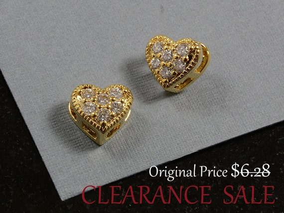 SALE - Heart Charm, Heart Pendant with Cubic Zirconia in Gold Plating, 8x9mm - 2 pcs/ order