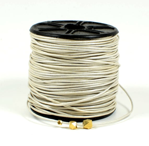 1mm leather cord in Metallic pearl, off-white leather cord, fine genuine leather cord - 1 yard/order