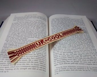 Valentine Conversation Heart Bookmark - UR Cool - handwoven inkle band, message, handwoven lettering