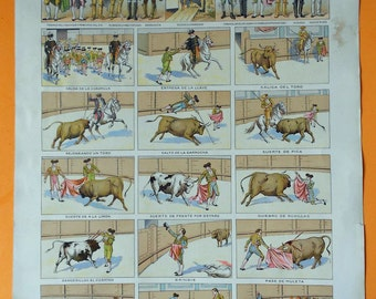 1900 SPANISH BULLFIGHT. Different types of bullfights. Antique Lithograph... 115 years old nice print!