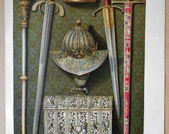 1879 Objects of the Catholic Kings: sword, crown, scepter... Authentic chromolithograph of nineteenth century