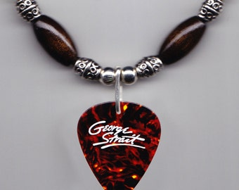 George Strait Faux Tortoise Guitar Pick Necklace - 1998 One Step at a Time Tour