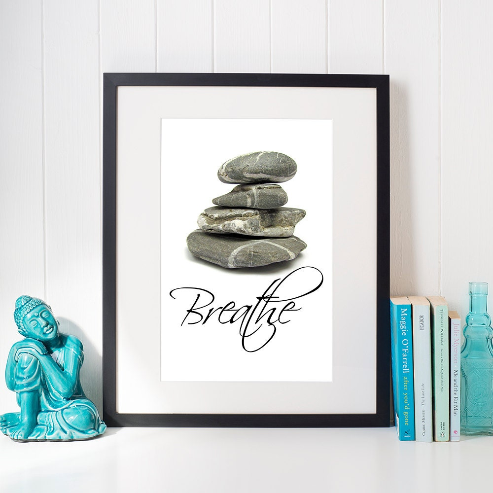 Breathe printable wall decor zen yoga home decoration beach for Deco mural zen