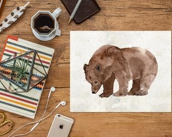 Grizzly Bear Printable Art Print, 8x10 11x14 Watercolor Cabin Decor, Bear Poster, Cabin Wall Art, Mountain Print, Nursery Print, Download