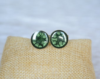 Green cuff links, hand painted round cuff links, gift for man, silver and green cuff links, cufflinks in wooden jewelry box