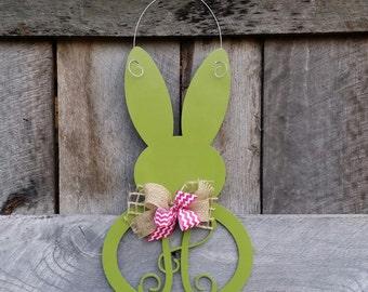 Easter Bunny Wreath - Easter Door Hanger - Spring Door Hanger - Personalized Spring Wreath