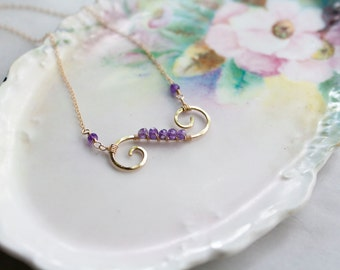 Amethyst Wire Wrapped Pendant Necklace, Gold filled, Bridesmaid Gift, Purple pendant, Handmade