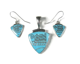 Vintage Zuni Turquoise Cityscape Micro Inlay Jewelry Set Pendant and Earrings