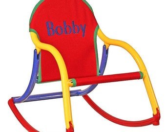 Personalized Childrens Rocking Chair In Primary Canvas That Folds And Is  100% Watersafe  For