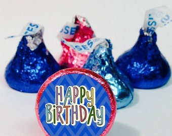 Happy Birthday Chevron Candy Labels ~ 108 Hershey Kiss Candy Label Stickers, Hershey Kiss Stickers ~7 Colors to Choose From