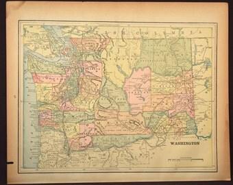 Vintage Washington State Map Etsy - Map of washington state