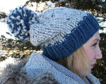 Hand Knit Slouchy Pom Hat - The Excelsior Pom Hat - Grey Marble & Denim - WARM + COZY!