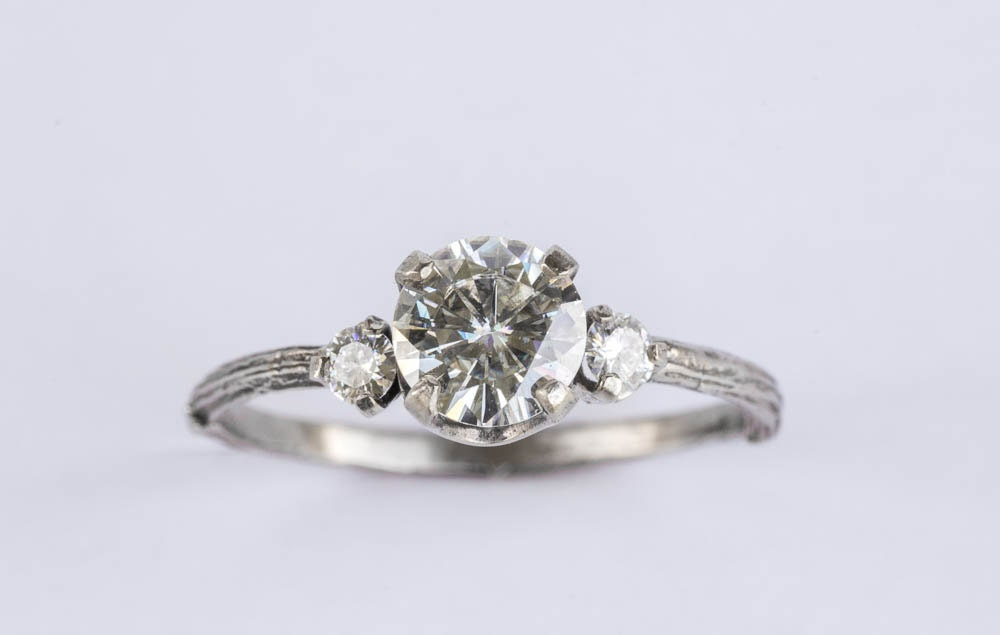moissanite three engagement ring white gold by oore