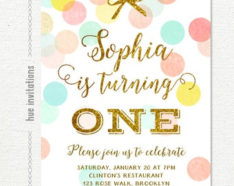 girls 1st birthday party invitation, peach coral mint turquoise yellow gold glitter bow, first birthday digital customized printable invite