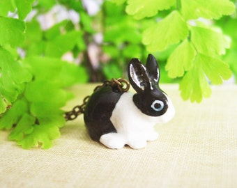 Sweet Bunny Porcelain Pendant Necklace, Small Glazed Ceramic Dutch Rabbit Necklace with Bronze Chain, Black and White Bunny