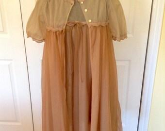 1960's Bronze Chiffon Peignoir Short Robe and Gown set- Small, very elegant, floaty, fun!