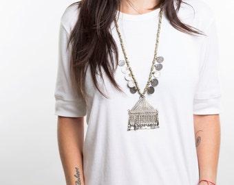 Long necklace pendant,Boho jewelry,Triangle pendant,Boho-luxe jewelry,Statement necklace,Ethnic necklace,Long necklace boho,Ethnic jewelry