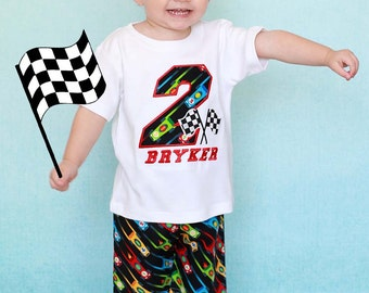 Boy Racing Birthday Shirt with Name and Race Car Number