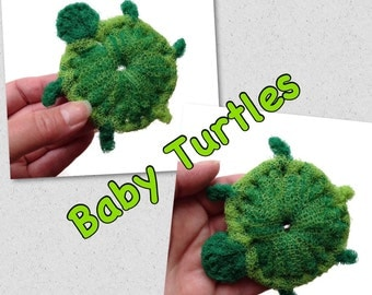 Turtle Scrubbies, 3 to 6 Nylon Netting Baby Turtle Dish Scrubbies, Housewarming Gift, Double-Layered and Super Durable - Gift for Him or Her