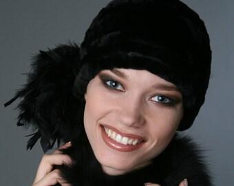 Fur hat Black Fur hat Woman hat Women's Fur Hats Hat Woman Women's Winter Hat Ladies Hat Feathers. Womens hats trendy avant-garde modish hat