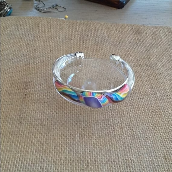 Rainbow Clay and Silver Plate Adjustable Cuff Bracelet