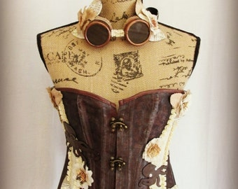 20% OFF SALE - Octopus Dreams - Custom Corset with Hand Stitched Leather Octopus, Ribbon, Gears, Lace, and Fabric Accents