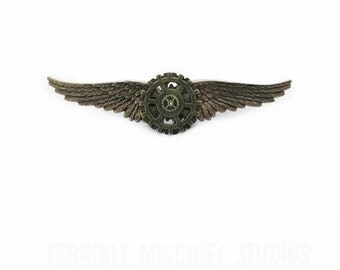 """Steampunk """"Mechanic"""" Brass and and Copper Wings Pin"""