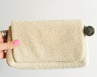 Antique Lumured Beaded Clutch In Ivory