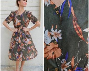 1970 Vintage Dress/ Eva Green Dress/ Small Dress/ Medium Dress/ Floral Dress/ Green Dress/ Japanese Vintage/ Sheer Dress/Summer Spring Dress