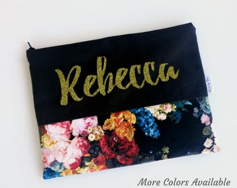 Personalized Makeup Bags - Floral - Makeup Bags - Stocking Stuffers for Women - More Colors Available