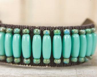 Bohemian bracelet, Leather Beaded Cuff, adjustable bracelet, turquoise bracelet, beaded leather, distressed leather, leather cuff, boho chic
