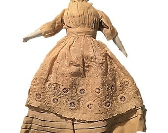 Antique Victorian 1860s High Brow China Head Doll in Original Clothing Made in Germany