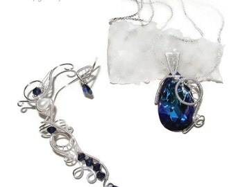 Purple Calling jewelry set, swarovski jewelry, water ear cuff, water pendant, wire ear cuff, water magic, elf costume, elvish jewelry,