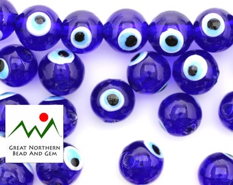 Eye Beads,Lucky Eye Beads,Evil Eye Beads,12MM Round,Glass Beads,Lampwork Beads,Hand Made Beads,Lampwork Glass,EYE100006
