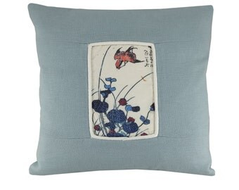 Bird Cushion Cover, Green linen cushion