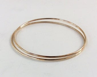 SOLID Gold Bangles Set of (2) - 14K Gold - Each 1.3mm Thick  / 16 Gauge - Receive Two 14K Solid Gold Bangles