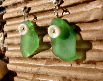 Green Beach Glass Earrings w/ puka shell detail