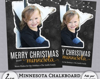 Christmas Card Template Minnesota MN State Chalkboard Holiday Photo PSD PhotoShop Template Greeting - 4x6, 5x7 - Instant Download