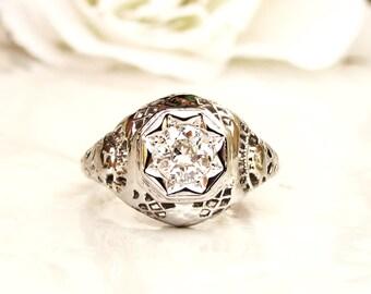 Antique Edwardian Engagement Ring Star Set 0.50ct Old European Cut Diamond Wedding Ring 18K White Gold Filigree Antique Diamond Ring Size 5!