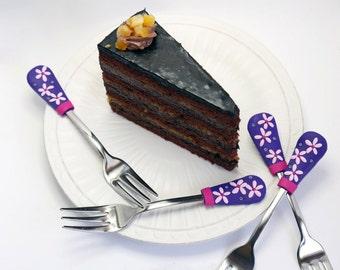 Cake forks set, flowers cake silverware dessert fork set