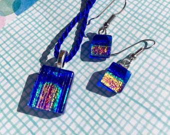 Fused Glass Pendant and Earring Jewelry Set