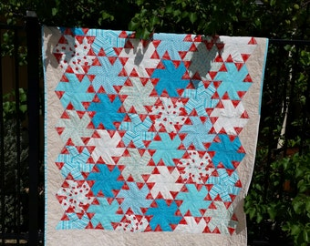 Handmade small single, cot quilt or picnic rug.