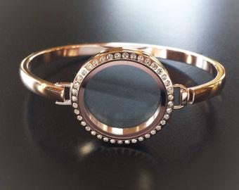 Rose Gold Floating Locket Bangle Bracelet-30mm (Large)-Twist On/Off-Crystal Face-Stainless Steel-Gift Idea for Women