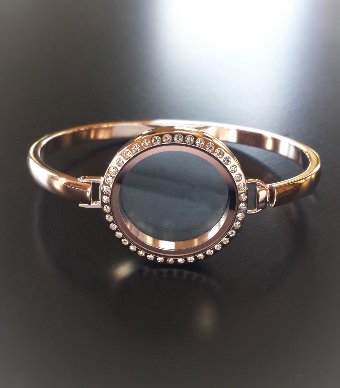 gold floating locket bangle bracelet 30mm largetwist