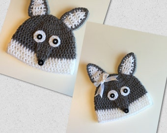 Baby wolf hat, wolf hat for babies ,wolf beanie, baby gift,winter baby hat